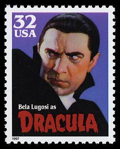 Film star Bela Lugosi, seen here as Dracula, began collecting stamps after his wife started saving them from postmarked envelopes. His collection reportedly numbered over 150,000 at one point.