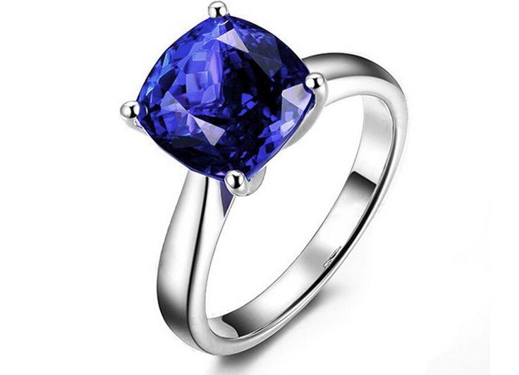 Gloednieuwe 3 karaat tanzaniet 925 sterling zilveren ring diamant ring eenvoudige en mode saffier ring ons de grootte van 4,5 tot 9 in  van ringen op AliExpress.com | Alibaba Groep