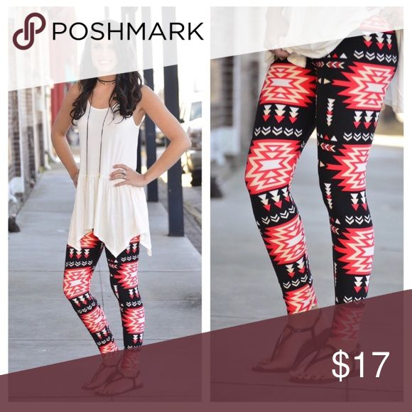 NEW OS Aztec Print leggings Brand new. Super soft leggings. 92% polyester 8% spandex.  Aztec print on background. Comparable to Lularoe leggings but these have elastic waistband. One Size fits sizes 2-12. Bundle and save! Infinity Raine Pants Leggings