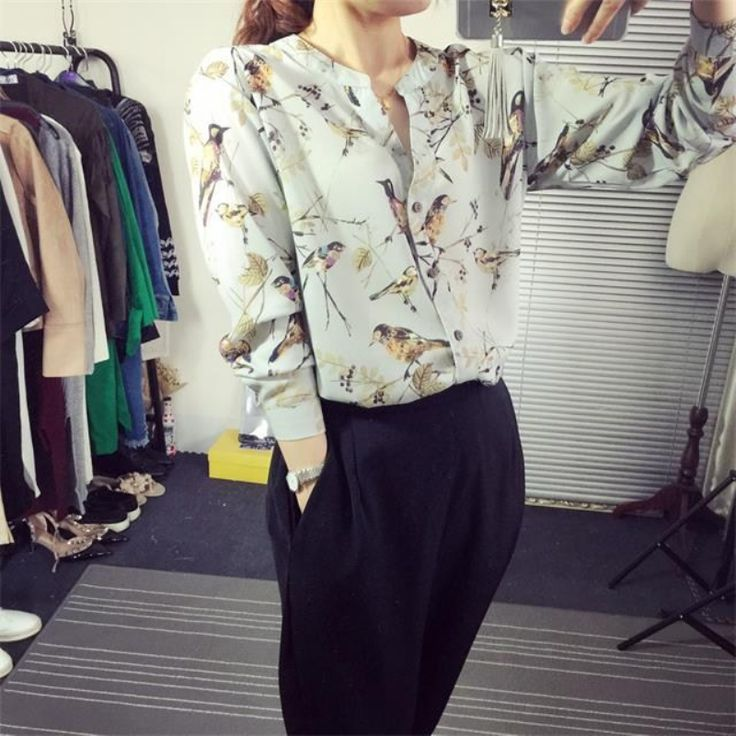 Hot Nieuwe Vogels Print Blusa Chiffon Kimono Dames Vintage Lange mouwen Blusas De Renda Feminino V hals Body Vrouwen Katoen Shirt in           maat InformatieSizeschouderbustemouwlengteCM van Shirts& blouses op AliExpress.com | Alibaba Groep