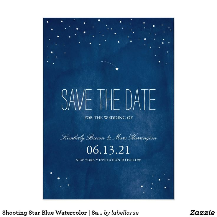 Shooting Star Blue Watercolor | Save the Date