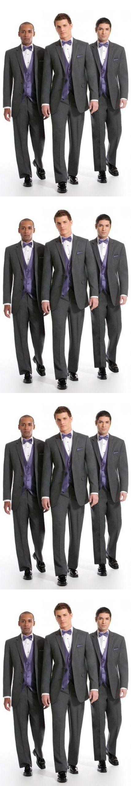 2017 Custom Made 2 Buttons Dark Grey Groom Tuxedos Notch Lapel Best Man Groomsman Men Wedding Suits (Jacket+Pants+Vest+Tie)