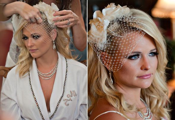 Miranda Lambert wears a gorgeous birdcage veil for her wedding to Blake Shelton   Presented to Strictly Weddings by @junkgypsies