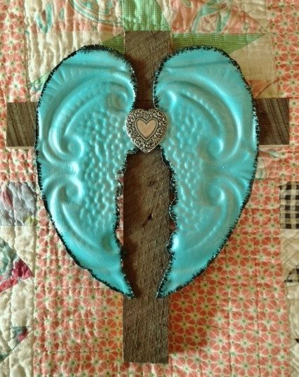 Turquoise & White Angel Wings on Wooden by Repurposedlifeokla, $35.00