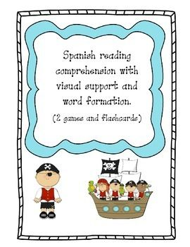 Pirates Spanish Language arts Centers Includes: This Spanish Reading comprehension activity has been designed to be placed in a Spanish Language Arts center.  The students must match the picture on each map with the sentence written on the mat. Once all the maps are in their correct nest, each student will take one of the recording sheets and color each map with the correct color (the one that is wrapping the picture inside the map). They must pay attention and write on the correct line. The…