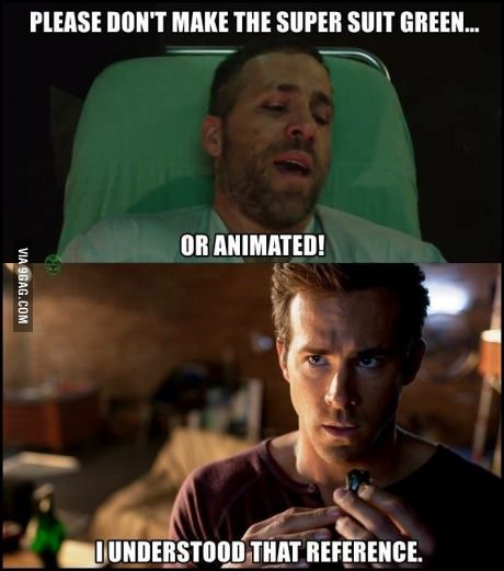 Well played Deadpool. Well played. lol Green lantern..