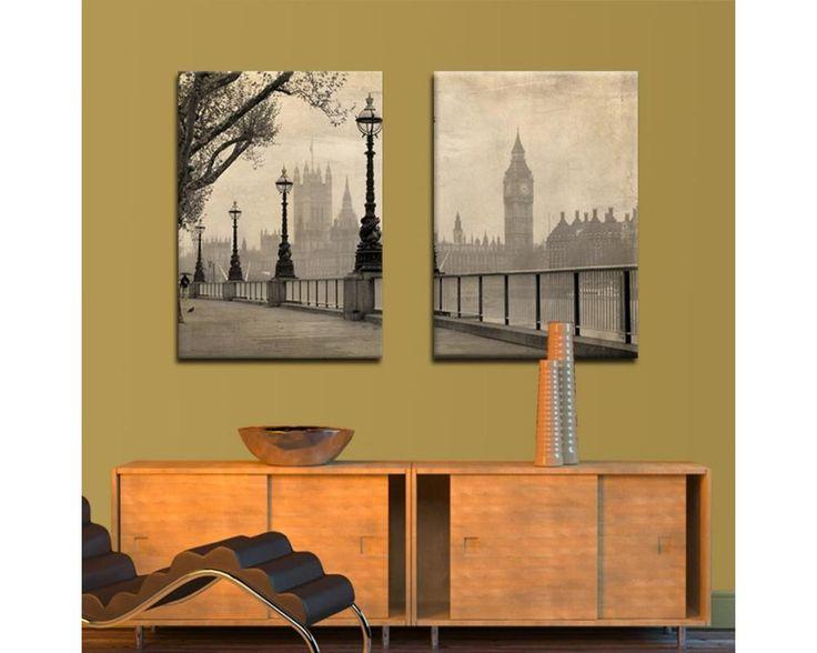 Big Ben & Parliament,δίπτυχος πίνακας σε καμβά