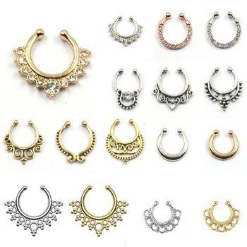 Caliente venta crystal fake tabique de la nariz anillo piercing clip de cuerpo…