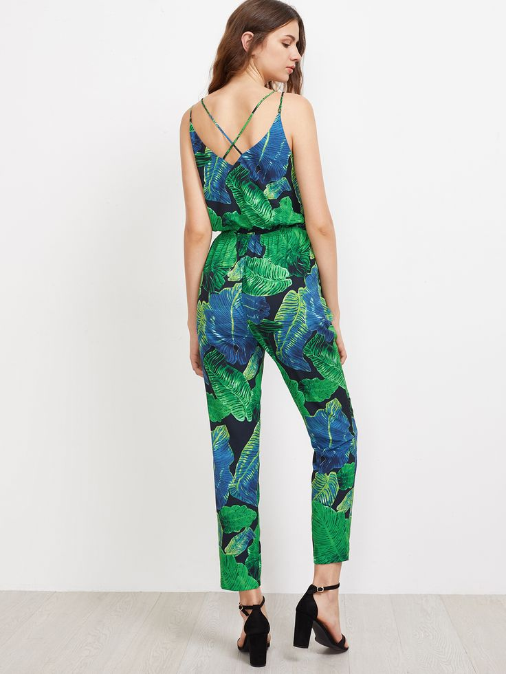 Negozio Tuta intera con stampa di foglia di giungla  on-line. SheIn offre Tuta intera con stampa di foglia di giungla  & di più per soddisfare le vostre esigenze di moda.