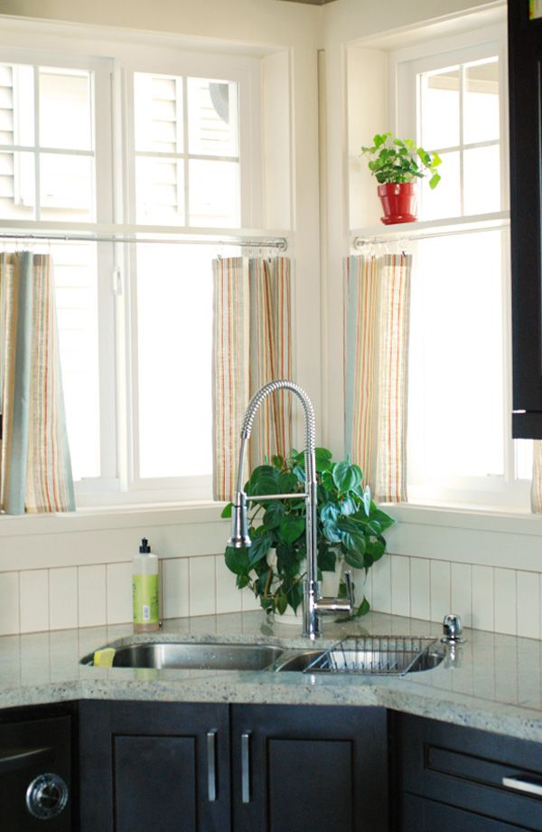 Cool Corner Kitchen Sink Designs I Like The Idea Of The Shelf With The Cafe Rods Below Hopefully My Window