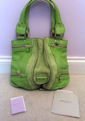 JIMMY CHOO NEON GREEN LEATHER/SUEDE MONA BAG - £250 Whispers Dress Agency - Shoulder Bags - 1