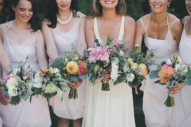 Brides: A Nautical-Themed Wedding in Vancouver, Canada.  Blush bridesmaid dresses by Elika In Love. www.elikainlove.com