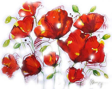 Khromykh Natalia - red poppies on the white