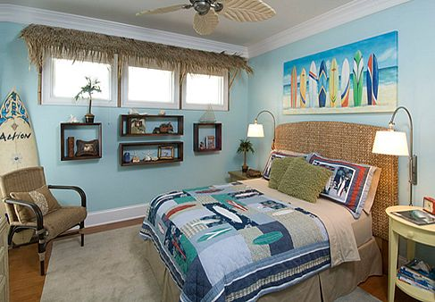 Surfer's-Bedroom-With-Thatched-Valance - love it! #homedecor #surfer