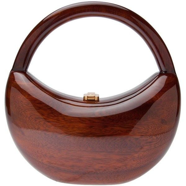 ROCIO 'Soraya' handbag Natural brown lacquered wood 'Soraya' handbag from Rocio featuring a structured top handle with a gold-tone top clasp fastening and velvet lining