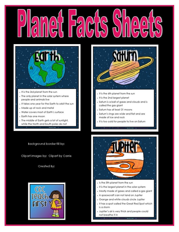 Planet Facts Sheets/Posters | School- TCA | Pinterest