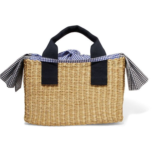 Muun Ninon straw and gingham cotton-canvas tote ($240) ❤ liked on Polyvore featuring bags, handbags, tote bags, woven beach tote, bow tote, handbags totes, tote purses and woven straw tote