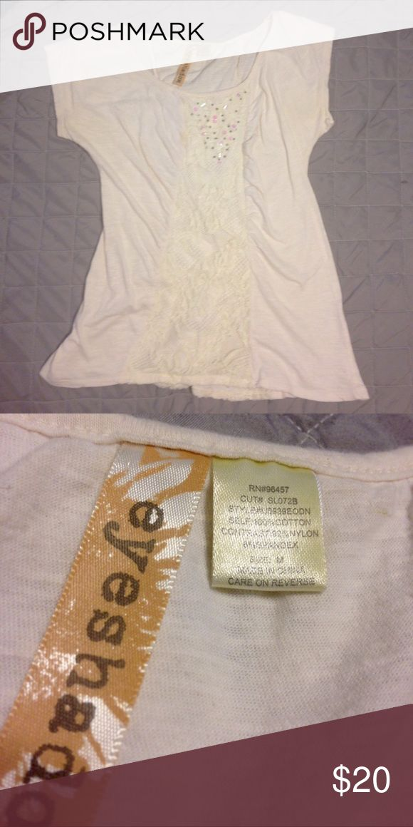 Cream Top Cream short sleeved top with sequins and lace. Eyeshadow Tops Blouses