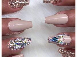 Ice Blue Glitter Coffin Nails by MargaritasNailz