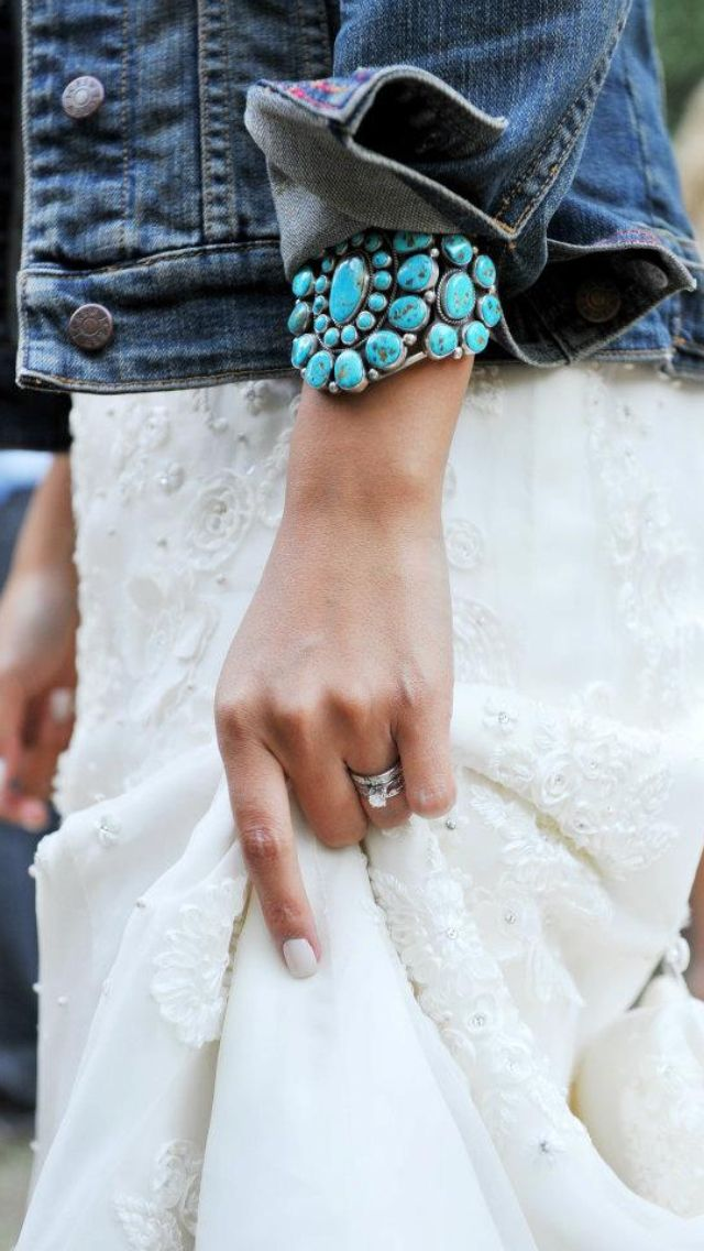 My turquoise Navajo cuff, my J. Crew denim jacket, the ring, and my wedding gown = PERFECTION