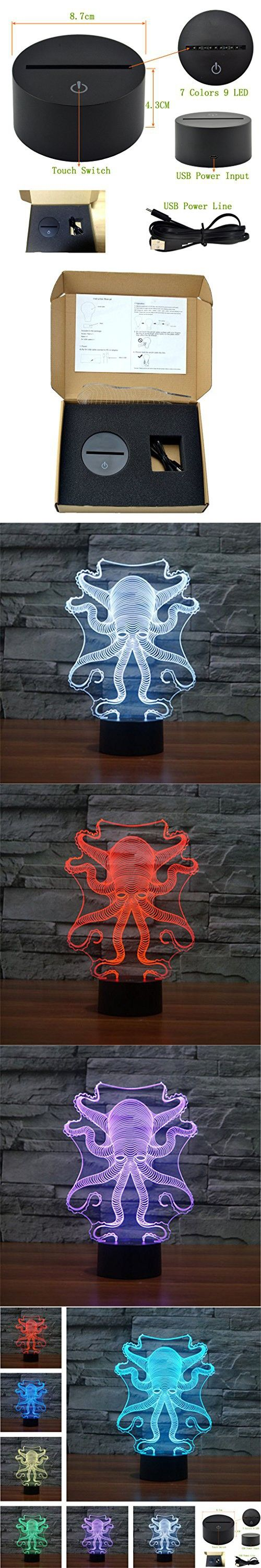 Octopus Creative Creature 3D Acrylic Visual Home Touch Table Lamp Colorful Art Decor USB LED Children's Desk Night Light 3D-TD158