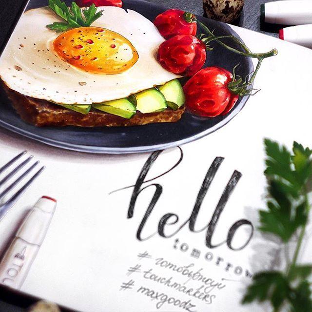 Hello, tomorrow 🌞 Хэй, друзья, признавайтесь, какой у вас любимый завтрак? Я ответственно заявляю, что для меня утро- не утро без яишенки, а если еще и с помидорками-то день стопроцентно будет прекрасным! Ребята @maxgoodz и @touchmarkers.ru разделяют мою любовь и в честь этого мы запускаем крутой конкурс! Ай-да рисовать яичницу в любимой модификации, любыми материалами (не забывая пританцовывать под утренние песни)👯 Условия: 🍳до 15 июня публикуем в свой открытый аккаунт Instagram нар...