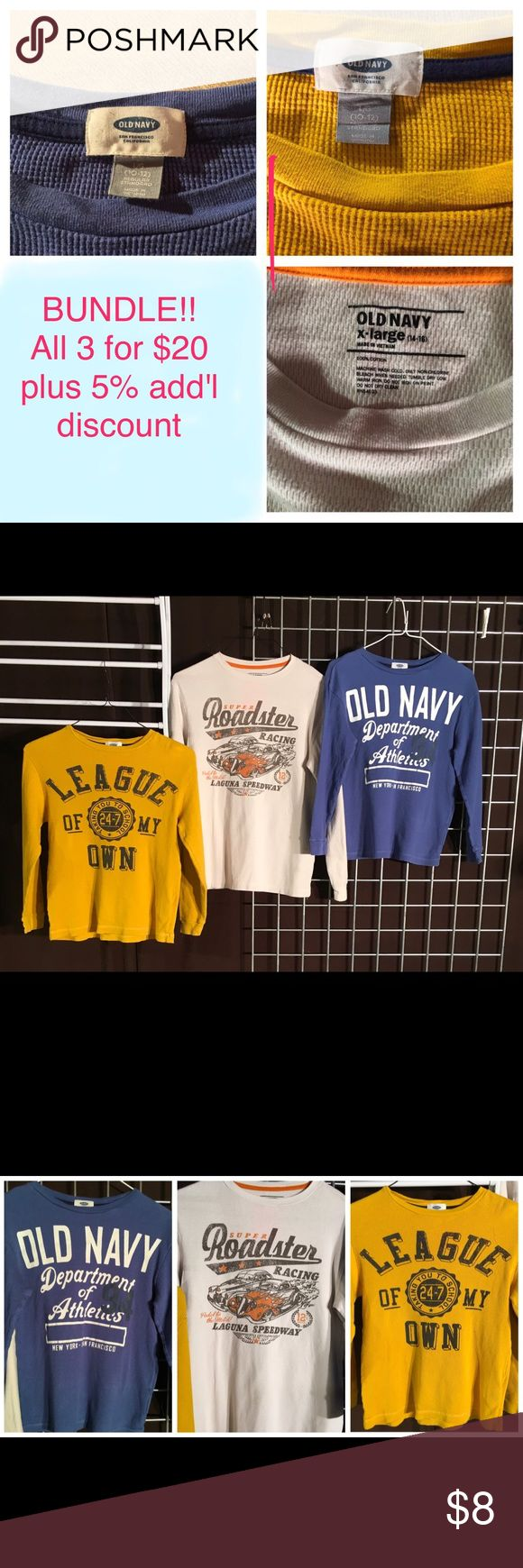 Old Navy boys shirts. $8 ea /bundle all 3 for $20 100% cotton Old Navy quality boys thermal shirts. Gently used, no rips, fraying or stains.    Perfect addition to any casual wardrobe. Use to layer in cold weather or wear alone any season. Blue and gold shirts boys size (L) 10-12.         White shirt size (XL) 14-16 Old Navy Shirts & Tops Tees - Long Sleeve