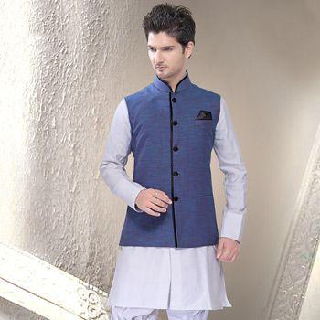 Blue Ramie Linen Readymade Nehru Jacket