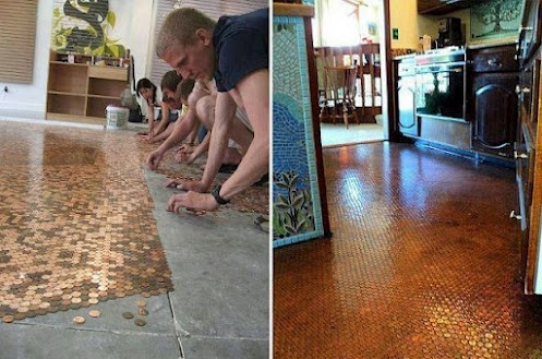 Copper pennies plus clear resin = beautiful and unique floor! :): Squares, Coins, Clear Resins, To Work, Cool Ideas, Pennies Floors, Concrete Floors, Copper Pennies, Home Improvements