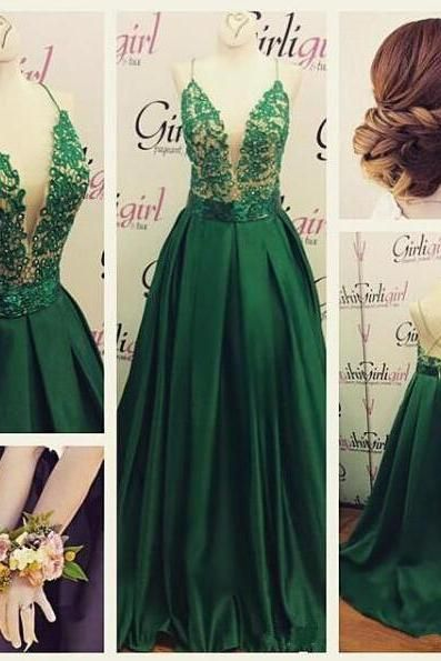 Backless Prom Dresses,Green Prom Gowns,Green