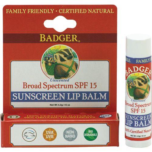Badger Sunscreen Lip Balm, SPF 15 || Skin Deep® Cosmetics Database | EWG