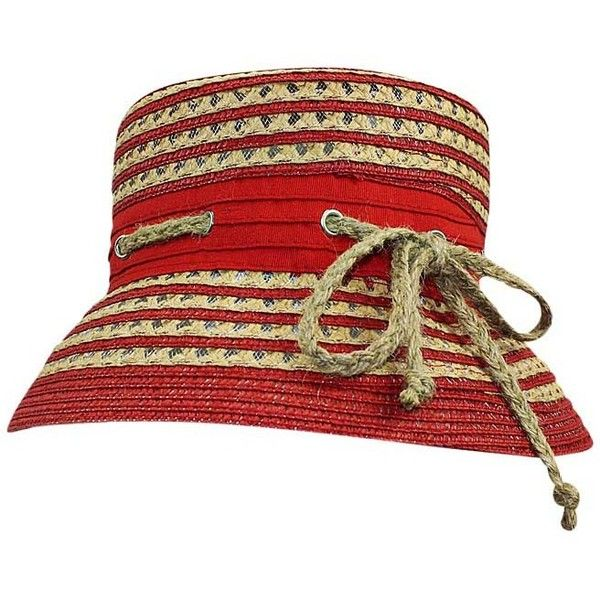 Red & Tan Nautical Rope Bucket Hat (205 HRK) ❤ liked on Polyvore featuring accessories, hats, red, fisherman hat, print bucket hat, red hat, fishing bucket hat and fishing hat