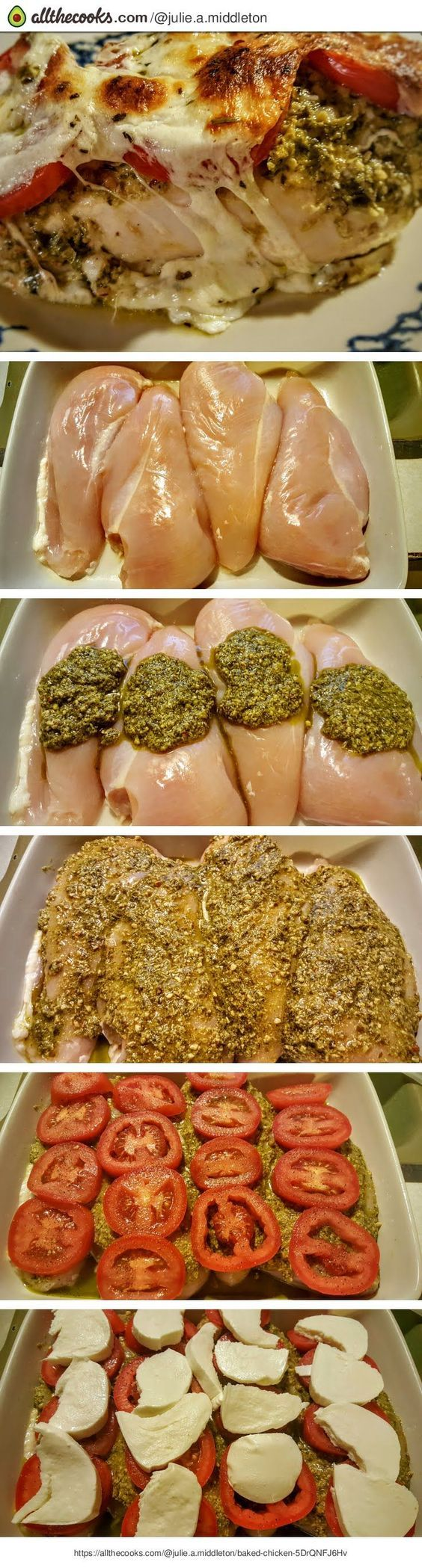"Pesto Baked Chicken! ""The flavors burst in your mouth from start to finish - fre..."