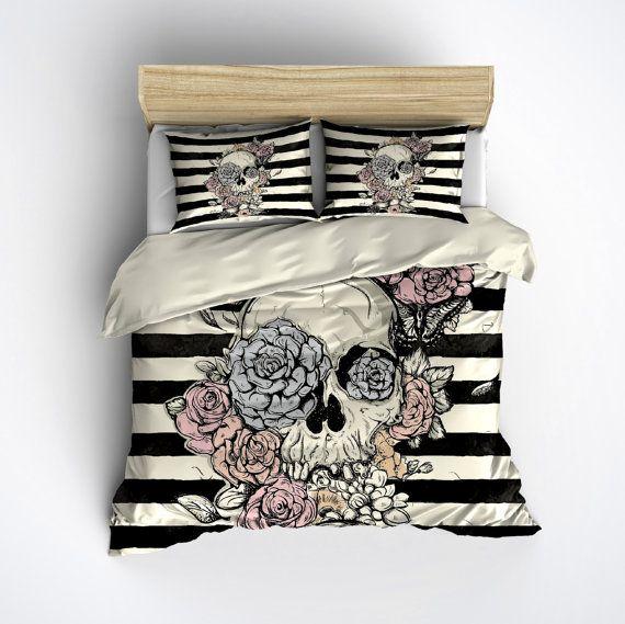 Featherweight Skull Bedding Flower & Skull Stripe by InkandRags