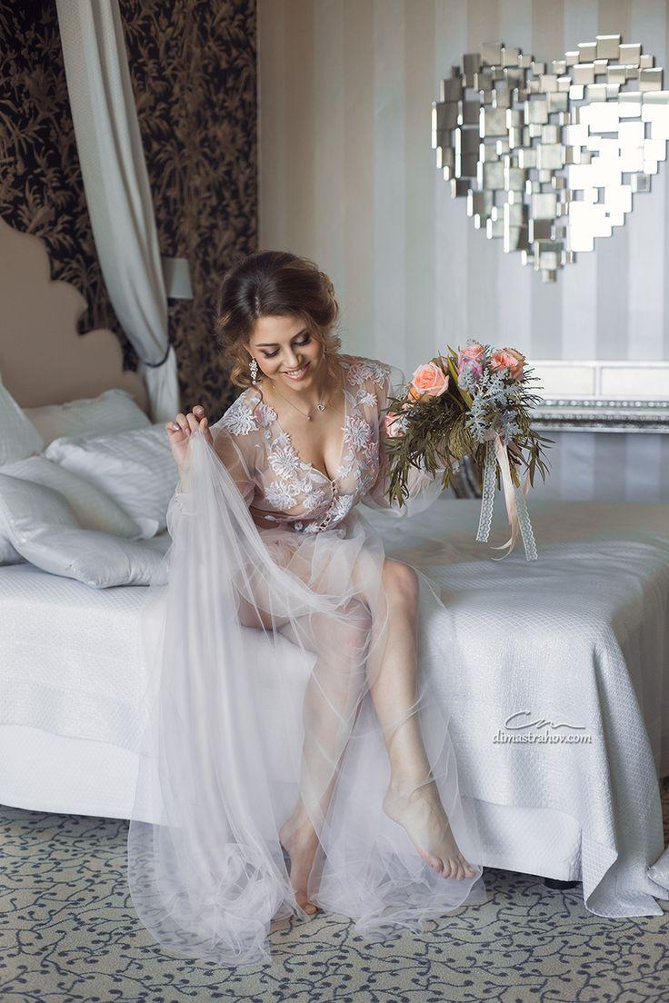 Нежное будуарное платье для утра невесты. Будуарные платья