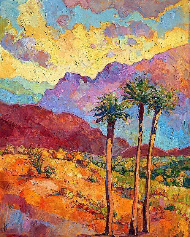 'Indian wells' by Erin Hanson, US. Warm desert colors bathe the canvas, bringing to life this beautiful desertscape near Palm Springs, California. | 'Индейские родники' работа Эрин Хансон, США. Теплые цвета пустыни насыщают холст, оживляя прекрасный ландшафт вблизи Палм-Спрингс, Калифорния.  #иллюстрация #живопись #искусство #графика #холст #масло #арт #выставки #art #illustration #pencil #artsy #drawing #contemporaryart #draw #oil #sketchbook #graphic #exhibitions #timetoart