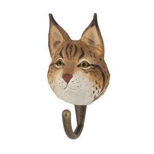 DecoHook Lynx handcarved clothes hanger from Wildlife Garden - maybe for the kids room? See all the animals at: wildlifegarden.info