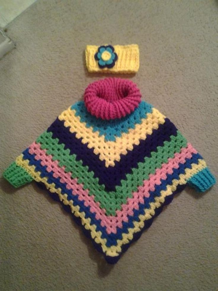Child's Cowl Neck Poncho with Cuffs