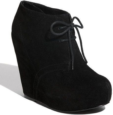 I have these i wear them on any occasion really comfy shoes! Steve Madden Black Annnie Wedge Bootie