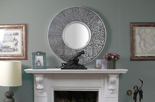 Our Damask shagreen wall mirror creates a vintage yet ornate look in its design. Unique, beautiful and chic, this mirror accentuates any home décor style and works well in any room.