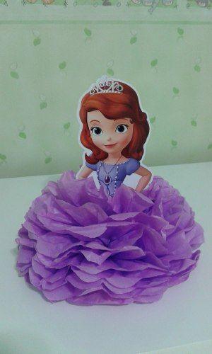 enfeite em pompom de papel de seda - princesa sophia kit c10