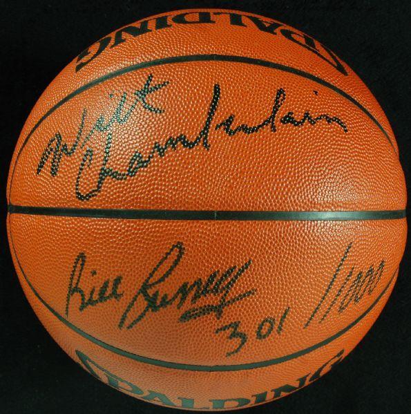 Spalding Official NBA Basketball   ... Bill Russell Dual-Signed Spalding Official NBA Basketball (PSA/DNA