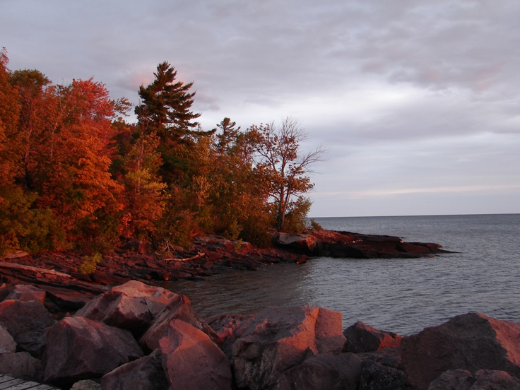 Autumn sunrise on the shores of Lake Superior in Porcupine Mts State Park in Upper Peninsula of Michigan