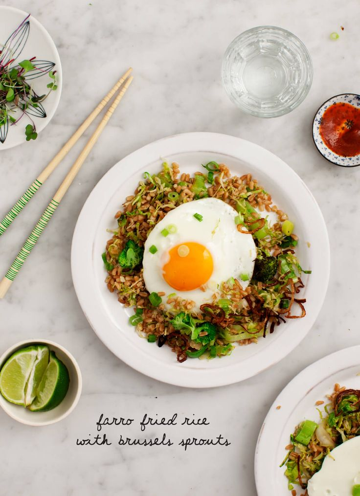 Farro Fried Rice with Brussels Sprouts