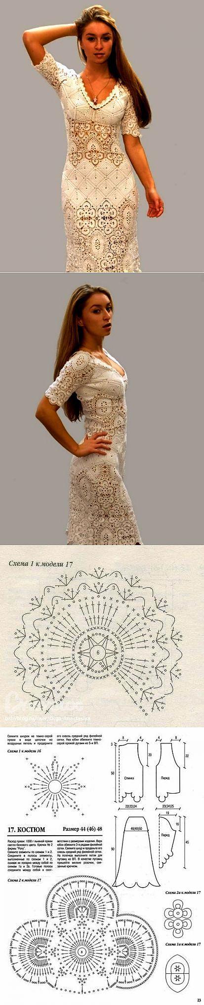 платье.   Ирландское кружево.   Постила