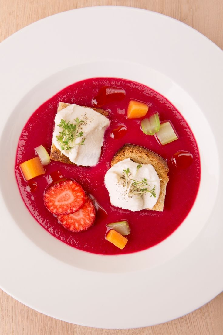 Chef Fabrizio Marino utilises fermented vegetables in this delicious and healthy beetroot gazpacho recipe, making the perfect vegan starter.