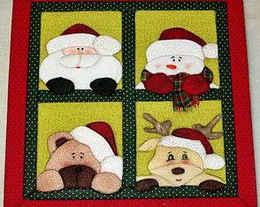 Papai Noel e amigos - Caixa em patchwork