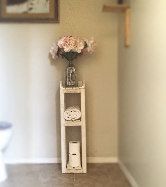 The shabby chic bathroom storage shelves are the first wood piece my husband and… – most beautiful shelves
