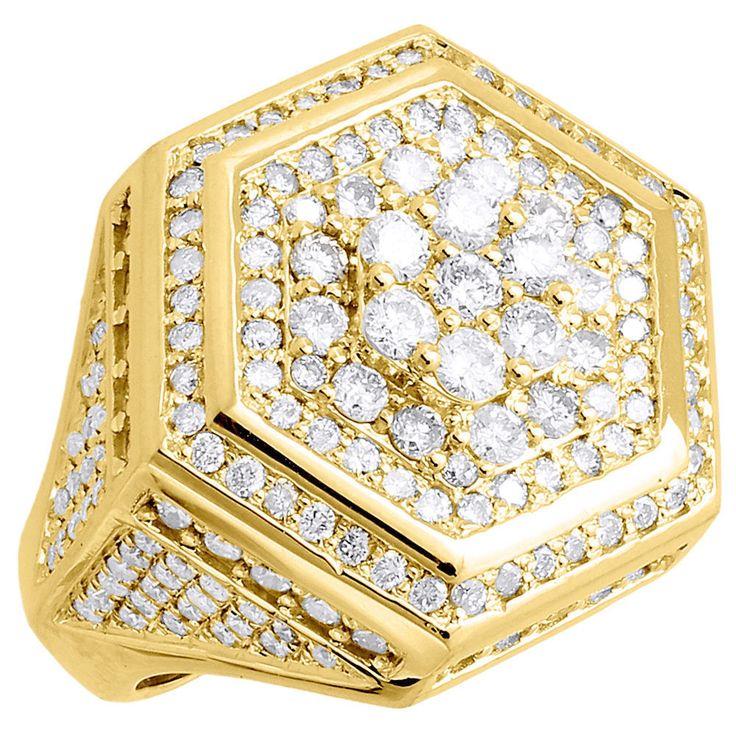 Men's 6.00 Ct tw Diamond Wedding Pinky Ring Round-Cut With 14K Yellow Gold Over #br925silverczjewelry #MensWeddingBandPinkyRing #EngagementWeddinganniversaryPartyDailyWear