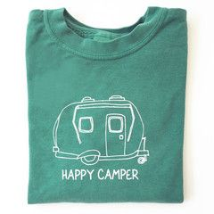 "Our ""Happy Camper"" design is hand screened in white on a youth Comfort Colors choice of grass green or pink long sleeve t-shirt. This shirt is pre-shrunk, 100% cotton, 5.4-ounce children's t-shirt wit"